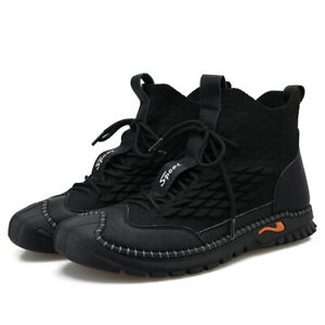 Winter Men's Boots Lace-up Breathable Walking Ankle Hiking Flats Casual Shoes