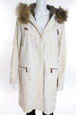 Michael Kors White Rabbit Fur Lined Fox Trim Hooded Coat Size 2