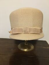 Vintage Women's/Ladies Ivory Hat, 1960s, Cloche Style With Ribbon And Bow