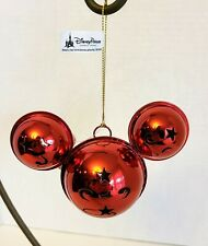 Disney Parks Mickey Mouse Icon Metal Bell Holiday Christmas Ornament Red NWT