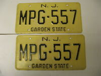 New Jersey NJ License Plate MPG-557 Pair