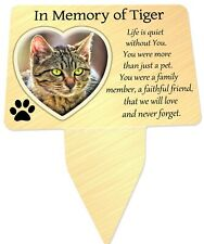 Cat Photo Personalised Memorial Plaque & Stake - Spike Heart, Cat, garden grave