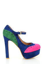 Joxy New Blue Pink and Green Suedette High Heels with platform size Uk 3 EUR 36