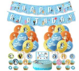 Bingo Bluey Themed Birthday Party Decor Set Balloon Banner Cake Topper Flag