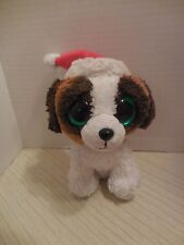 "Ty Beanie Presents the Dog Santa Cap Hat Solid Eyes 6"" Christmas Holiday 2012"