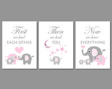 Family of 4 Elephants - 3 Wall Art Nursery Prints - First We Had Each Other