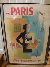PAN AM AIRWAYS AIRLINES  PARIS Vintage Travel poster    c. 1950's  28 x 42 inch