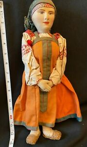 "Vintage 1930's Russian Stockinette Doll 14"" Tagged Cultural Dress"