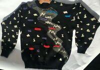 Vtg men Australian Kalaroo 100% heavy Wool Sweater coogi black white red blue,M