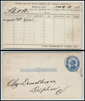 1911 US Postal Card - Domestic Coal Co, Wellston, Ohio to Delphos, Ohio O1