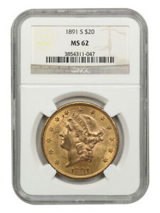 1891-S $20 NGC MS62 - Liberty Double Eagle - Gold Coin