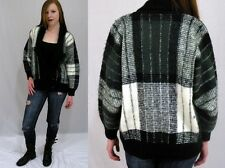 Vintage 80s Black White PLAID Shawl Collar Open CARDIGAN Boho Sweater Jacket M L
