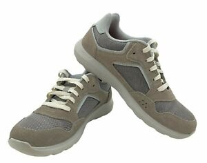 Men's 7 M crocs Kinsale Pacer Charcoal Gray Suede Leather Shoes Sneakers White