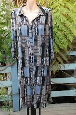 SuzanneGrae Graphic Print DRESS Size L-16 NEW $69.95 Donkey Brown/Grey 3/4 Slve