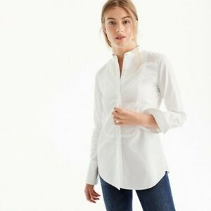 J.Crew Thomas Mason NWT 10 Tuxedo White Button Down shirt tunic 50084 mandarin
