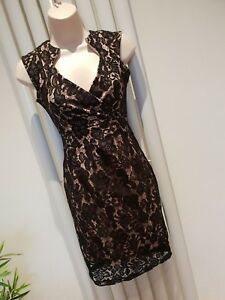 Lipsy Beige and Black Lace Bodycon Dress Size 10