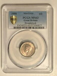 1950 Great Britain Sixpence PCGS Gold Shield MS63:  Mint Error Broadstruck