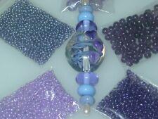 Purple Periwinkle Handmade Lampwork Glass Focal Seed Bead Lot 4076