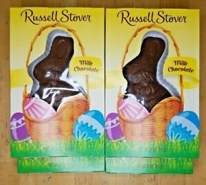 Lot of 6 Russell Stovers Solid Milk Chocolate Bunny 3 oz Best by 08/01/21