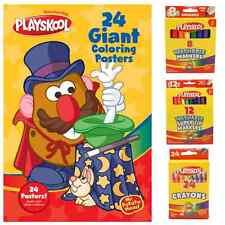 Playskool Mr Potato Head Colouring Poster Book With Crayons & Felt Tips Bundlel