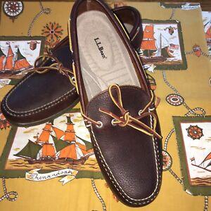 L.L. BEAN Brown Leather Boat Deck Shoes Camp Moccasins Slip On Men's 11 1/2 B