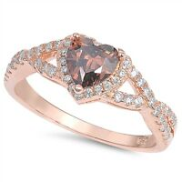 Sterling Silver .925 Coffee CZ Halo Heart Promise Infinity Ring Band Sizes 4-10