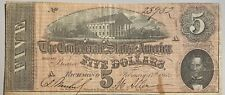 1864 $5 Confederate States of America Currency