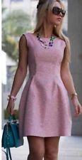 ZARA PINK TWEED CELEBRITY WORN SKATER STYLE FANTASY DRESS  M UK (10) NEW TAG