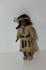 "Ving 7.5"" Plastic Native American Indian Women w Baby Child in Papoose clothed"