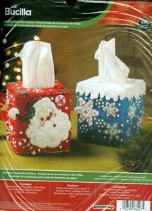 Bucilla TISSUE BOX COVERS Felt Kit for 2 Kleenex Box Covers - Santa & Snowflakes