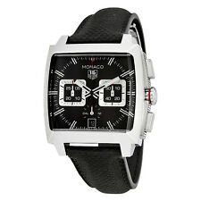 Tag Heuer Monaco Automatic Chronograph Black Opalin Dial Black Leather Mens