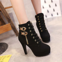Women Lace Up Buckle High Heels Ankle Boots Platform Booties Round Toe Shoes Sz