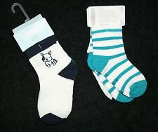 New Gymboree Boy Puppy Dog & Stripes Socks 2 Pack Size 0-3m NWT Tiny Teal
