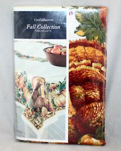 CROFT & BARROW Fall Collection Tablecloth Oblong 60x104 Turkeys Pumpkins Corn