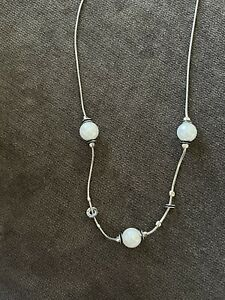 """Megido Designer Signed Sterling Silver 925 Pearl Bead Necklace 17.5"""""""