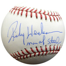 """RICKEY HENDERSON AUTOGRAPHED MLB BASEBALL A'S """"MAN OF STEAL"""" STEINER HOLO 112666"""