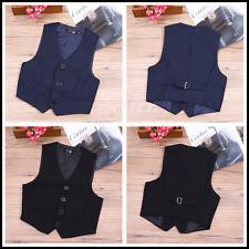 Boys Gentleman 4 Button Formal Birthday Party Wedding Suit Vest Waistcoat 3-12