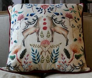 Home cushion 20 x 20 linen and velvet backing  modern design pillow