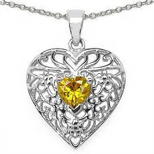 925 Sterling Silver Pendant with Yellow Cubic Zircon