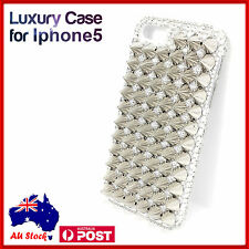 Silver Studded Punk Spike Studs 3D Metal Retro Case Cover for Apple iPhone 5
