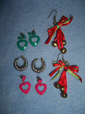 4 pair lot pierced EARRINGS beart pink teal silver Christmas ribbon bells hoop