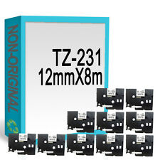 10 Compatible fit Brother TZ231/TZe231 P-Touch 12mmx8m Black On White Label Tape