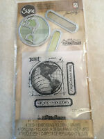 Sizzix Tim Holtz Die Embossing Folder & Clear Stamp Set The Journey 561221 NEW
