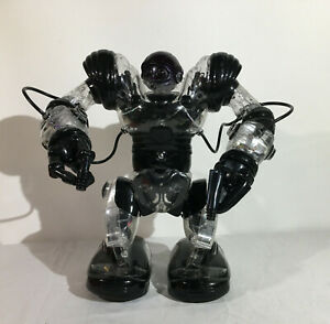 """WowWee Robosapien Humanoid Toy Robot 14"""" 2004 w/ Remote Control Black & Clear"""
