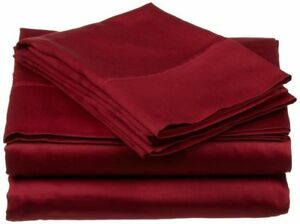 UK Double 4 PC Bed Sheet Set Egyptian Cotton 1000 Thread Count Burgundy Solid