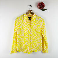 TALBOTS Women's Long Sleeve Button Up Shirt Floral Print Collar Yellow White S P