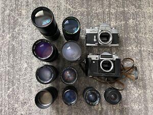 Zenit-E, Minolta Srt201 & 10 Lenses - Please Read
