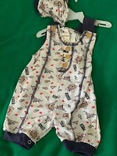 3-6 month Button shoulder romper with matching hat