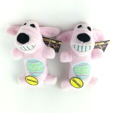 """2~ Multipet PINK Loofa Dog Toy with SQUEAKER 6"""" Easter Egg Design For Dogs XS-M"""