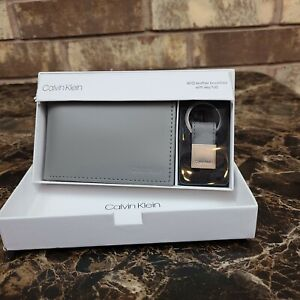 Clavin Klein Grey Leather RFID Wallet and Keychain set New with tags in box